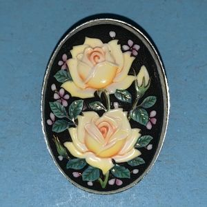 Double Yellow Roses Vintage Brooch